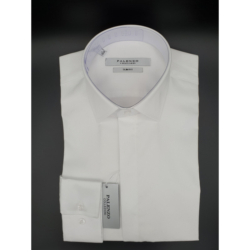 Chemise PALENZO Blanche boutons Cachés