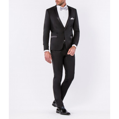 SMOKING SLIM FIT VENISE COL CRANTE NOIR